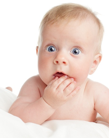 Bambino sorpreso isolato su bianco