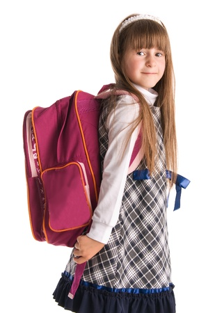 children only: Girl with backpack isolated on white