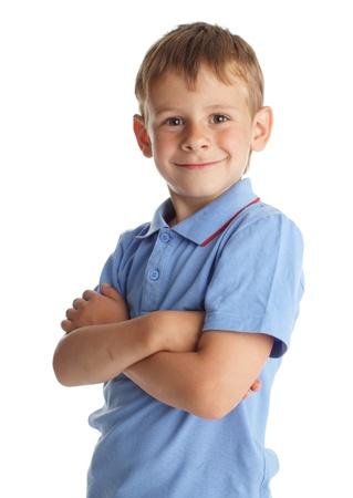 petit bonhomme: Gar�on souriant isol� sur blanc Banque d'images
