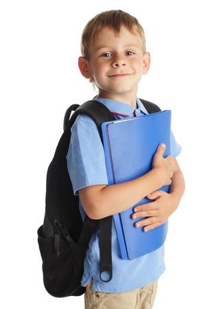 one boy only: Happy schoolchild isolated on white