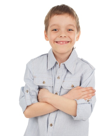 1 boy only: Smiling boy isolated on white