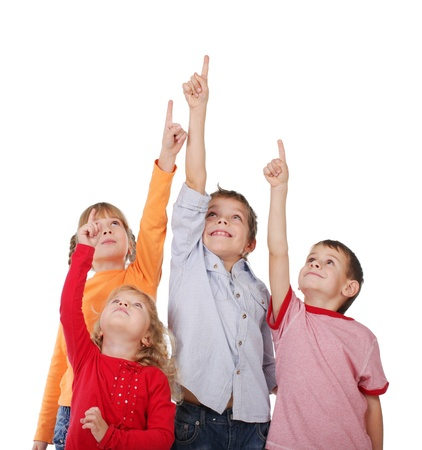 Children are showing up isolated on white photo