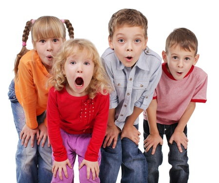 mouth open: Children surprised with open mouth