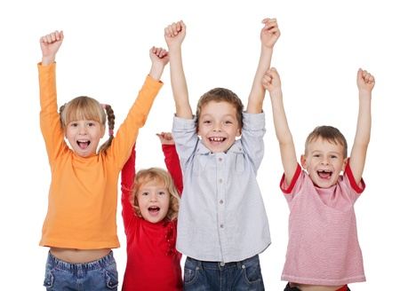 elementary age girl: Happy kids with their hands up isolated on white