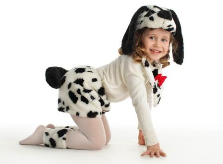 Dalmatian: Little child in costumes dog