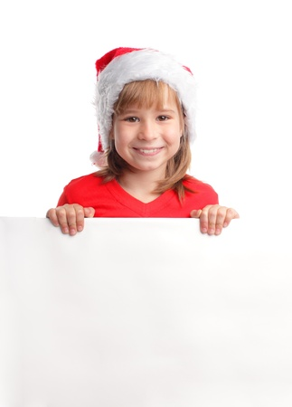 Girl in christmas hat with empty blank photo
