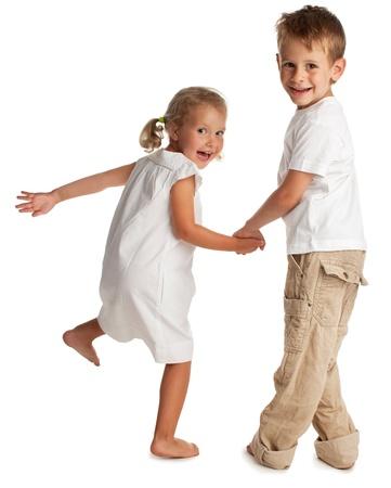 Gelukkige kinderen op een witte Stockfoto