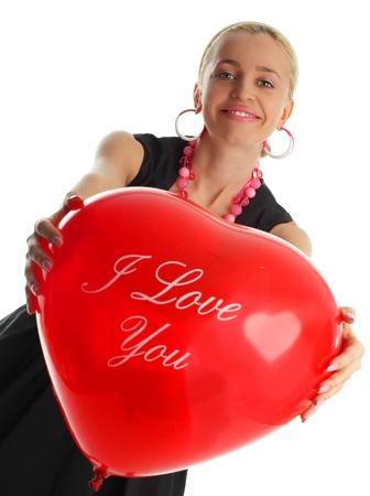 Beautiful woman in an elegant dress with balloon photo
