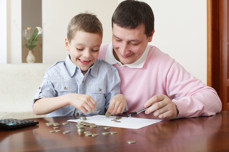 insurance consultant: Father training the son to the finance. Series