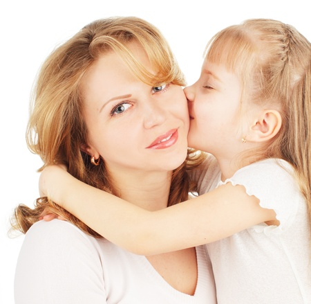 women kissing women: Mother with daughter isolated on white