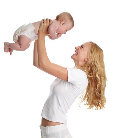 playing with baby: Madre con bambino isolato su bianco Archivio Fotografico