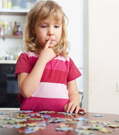 only girls: Child, playing puzzles at home