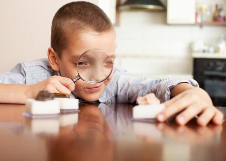Niño jugando con una lupa mirando a una colección de piedras Foto de archivo - 12159411