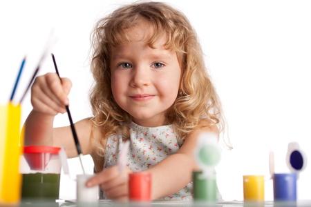 Littl enfant, peinture dessin. Isolé sur fond blanc
