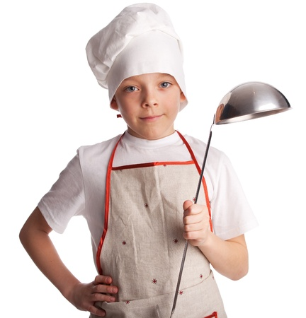boys only: Little young chef with ladle isolated on white Stock Photo