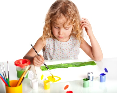 art activity: Littl child, drawing paint. Isolated on white Stock Photo