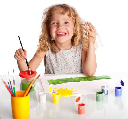 kids painting: Littl child, drawing paint. Isolated on white Stock Photo