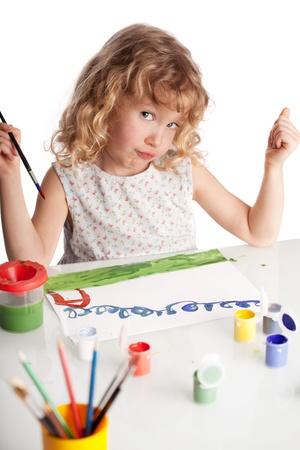 Enfant Littl, peinture dessin. Isolé sur fond blanc Banque d'images