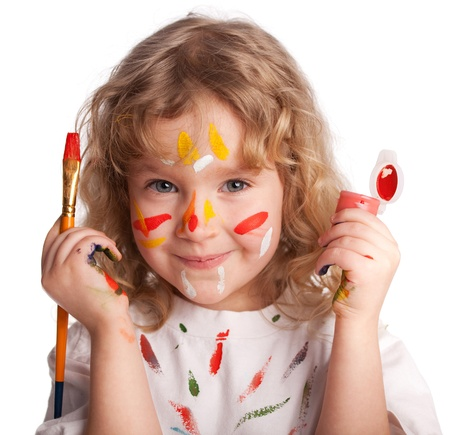 artist painting: Littl child, drawing paint. Isolated on white Stock Photo