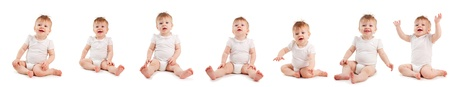 Group baby on a white background. Collage photo