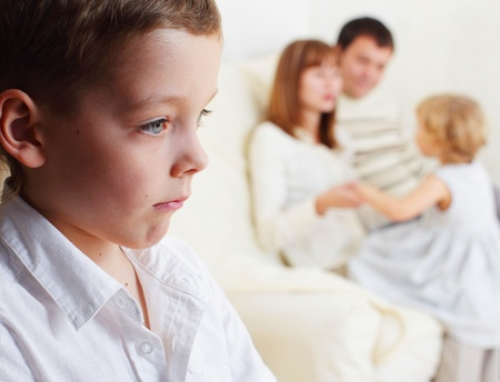 brothers: Boy is jealous parents of younger sister Stock Photo