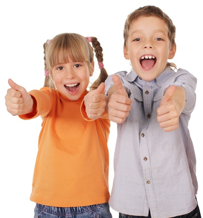 male's thumb: Happy children showing thumb up