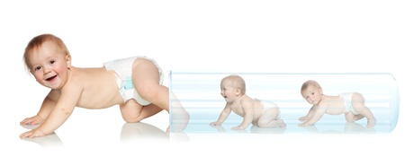 cloning: Baby getting out of the tube. Artificial Insemination. In Vitro Fertilization Stock Photo