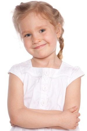 only girls: Little girl isolated on white Stock Photo
