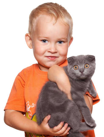 boys only: Child with lop-eared cat isolated on white
