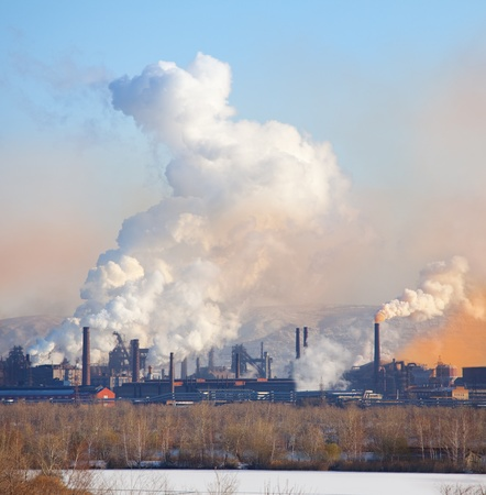 metallurgical: Metallurgical factory. Environmental contamination. Smoke pipe. Stock Photo