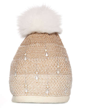 Knitted winter hat with fur bubo photo