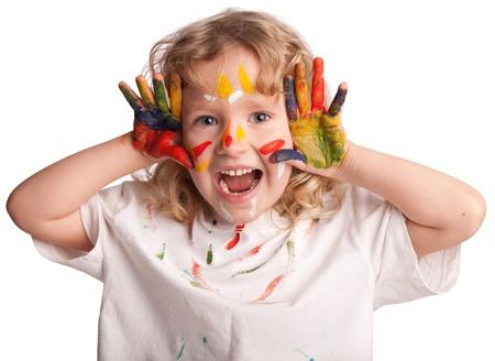 Petit enfant, peinture dessin. Isolé sur fond blanc