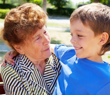 great grandmother: Grandmother with grandchild. Old woman with grandson