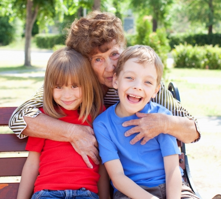 great grandmother: Grandmother with grandchild. Old woman with children Stock Photo