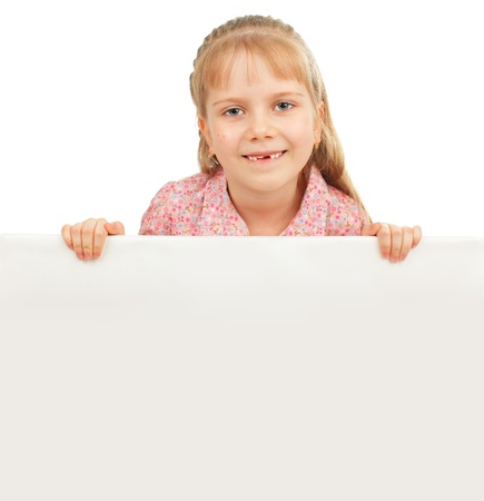 child holding sign: Little girl with blank isolated on white