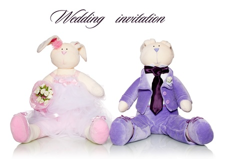 Bride and groom teddy. Wedding Stock Photo - 12940459