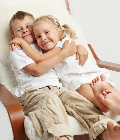 two person only: Brother with sister at home Stock Photo