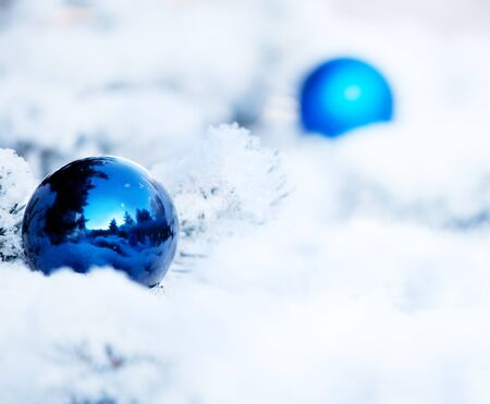 Christmas winter blue background. Ornaments with ball Stock Photo - 12940147