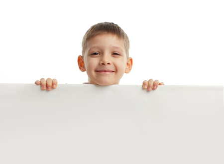 Child with empty blank isolated on white photo