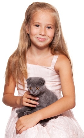 Girl with lop-eared cat isolated on white Stock Photo - 13086090