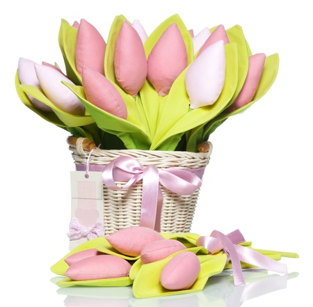 artificial flowers: Bouquet textile tulips on white Stock Photo