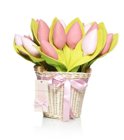 artificial flower: Bouquet textile tulips on white Stock Photo
