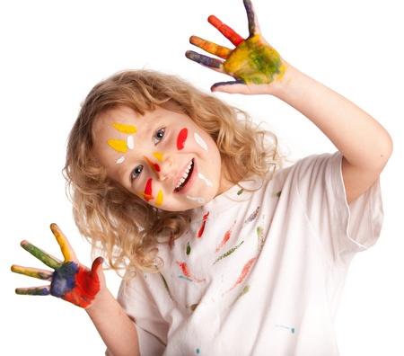 dirty girl: Piccolo bambino, vernice disegno. Isolato su sfondo bianco