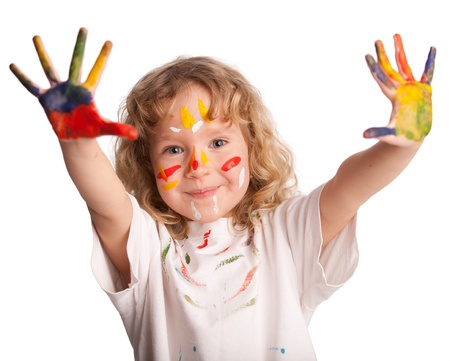 Little child, drawing paint. Isolated on white photo