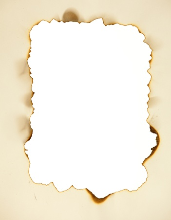 scorched: Scorched frame on paper. Burnt hole