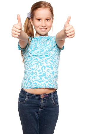 only teenagers: Happy girl showing thumb up. Happiness child showing sign okay Stock Photo