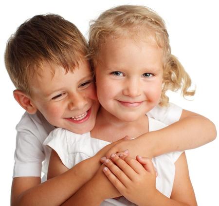brat: Szczęśliwe dzieci na biaÅ'ym Zdjęcie Seryjne
