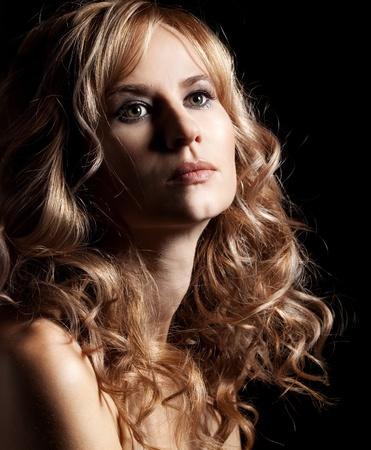 sexy nude blonde: Glamour woman in black dress studio shot Stock Photo