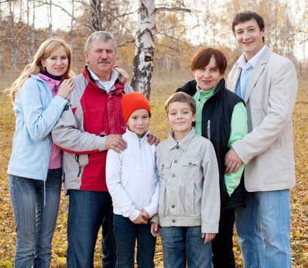 Families with children and grandparents in autumn park Stock Photo - 13668099