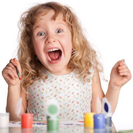 boca abierta: Littl niño, pintura dibujo. Aislado en blanco